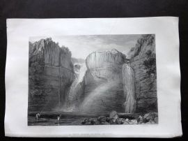 Turner 1879 Antique Print. High Force or Fall of the Tees, Yorkshire